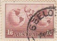 Australia Postage Stamp 1935 Hermes between 2 World 1s 6d red SG# 153B