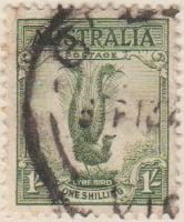 Australia Postage Stamp 1937 Coronation Lyre Bird 1s green SG# 191
