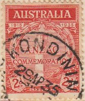 Australia Postage Stamp 1935 20th Anniversary of Gallipoli Landing Cenotaph in White Hall 1915 1935 Commemoration of Anzac 2d red SG# 154