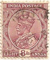 India 1911 Postage Stamp King George V eight annas 8As lilac purple SG # 212 http://richterstamps.co.za