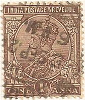 India 1911 Postage Stamp King George V one anna 1A brown SG # 197 revenue http://richterstamps.co.za