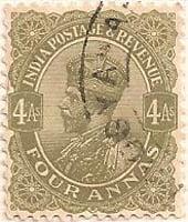 India 1911 Postage Stamp King George V four annas 4As olive SG # 210 revenue http://richterstamps.co.za