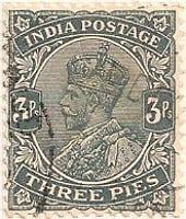 India 1911 Postage Stamp King George V three pies 3ps grey SG # 152 http://richterstamps.co.za