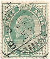 India 1902 Postage Stamp King Edward VII half anna green SG # 121 crown http://richterstamps.co.za