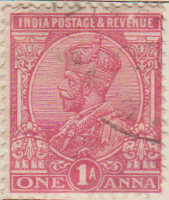 India 1911 Postage Stamp King George V one anna 1A red SG # 161 revenue http://richterstamps.co.za