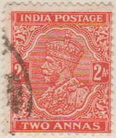 India 1932 Postage Stamp King George V 2A two Annas red orange SG # 236 http://richterstamps.co.za