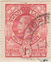 Swaziland 1933 Postage Stamp 1d red SG # 12 http://www.richterstamps.co.za King George V crown shields revenue Protectorate