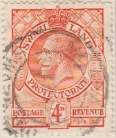 Swaziland 1933 Postage Stamp 4d red SG # 15 http://www.richterstamps.co.za King George V crown shields revenue Protectorate