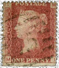 Great Britain Penny Red Stamp From Plate 77