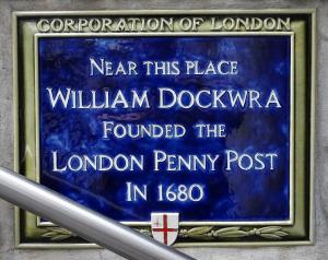 London Penny Post Plaque, www.richterstamps.co.za, William Dockwra